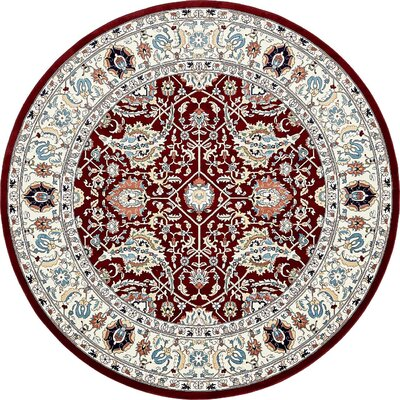 Courtright Burgundy/Ivory Area Rug Rug Size: Round 10