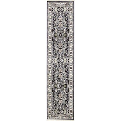 Courtright Navy Blue/Tan Area Rug Rug Size: Runner 3 x 13