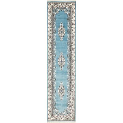 Courtright Blue/Tan Area Rug Rug Size: Runner 3 x 13