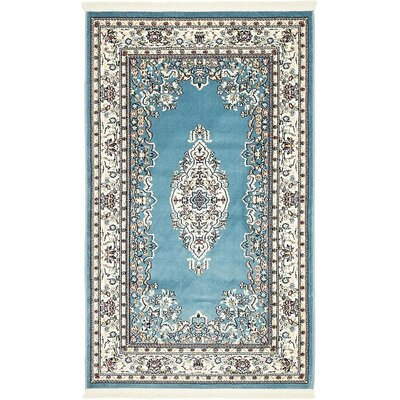 Courtright Blue/Tan Area Rug Rug Size: 3 x 5
