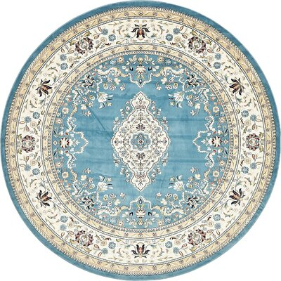 Courtright Blue/Tan Area Rug Rug Size: Round 10