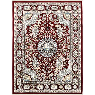 Courtright Burgundy/Tan Area Rug Rug Size: 5 x 8