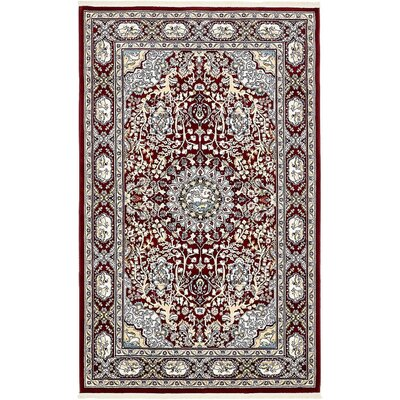 Courtright Burgundy/Tan Area Rug Rug Size: 8 x 10
