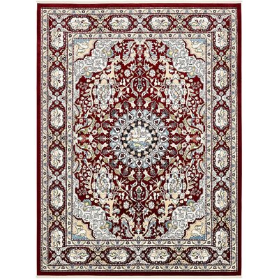 Courtright Burgundy/Tan Area Rug Rug Size: 13 x 198