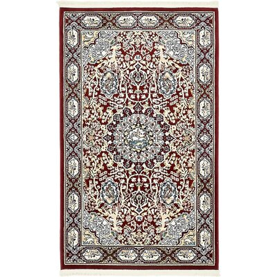 Courtright Burgundy/Tan Area Rug Rug Size: 3 x 5