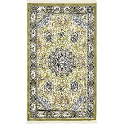 Courtright Green/Tan Area Rug Rug Size: 3 x 5