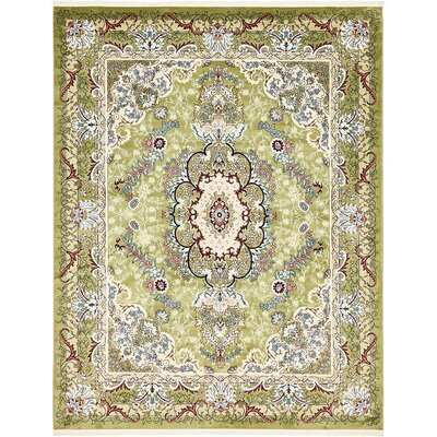 Courtright Green/Ivory Area Rug Rug Size: 10 x 13