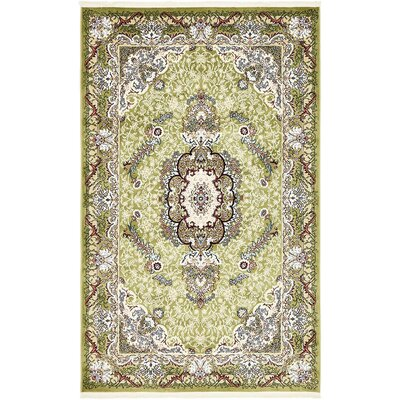 Courtright Green/Ivory Area Rug Rug Size: 8 x 10