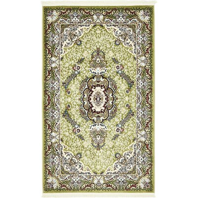 Courtright Green/Ivory Area Rug Rug Size: 3 x 5
