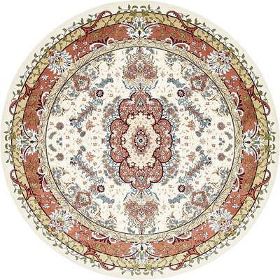 Courtright Cream/Burgundy Area Rug Rug Size: Round 10