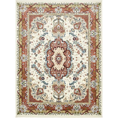 Courtright Cream/Burgundy Area Rug Rug Size: 5 x 8