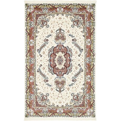 Courtright Cream/Burgundy Area Rug Rug Size: 8 x 10