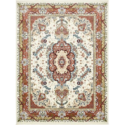Courtright Cream/Burgundy Area Rug Rug Size: 13 x 198