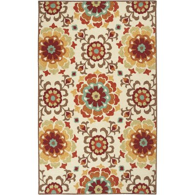 Cottingham Hand-Hooked Cream Indoor/Outdoor Area Rug Rug size: 5 x 76