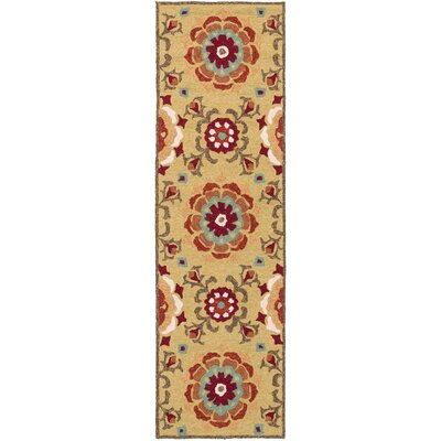 Cottingham Hand-Hooked Gold/Rust Indoor/Outdoor Area Rug Rug size: Runner 26 x 8