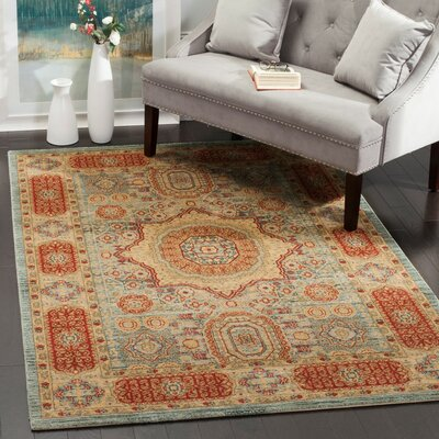 Oren Navy/Red Area Rug Rug Size: 51 x 77