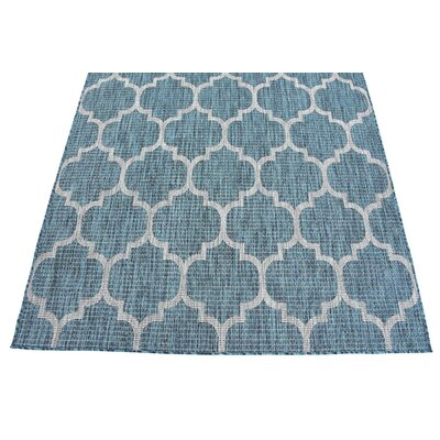 Enola Teal/Grey Outdoor Area Rug Rug Size: Runner 2 x 6