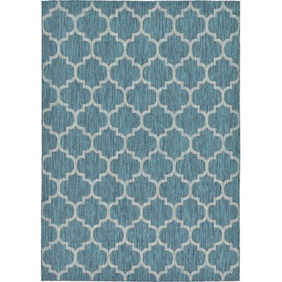 Enola Teal Outdoor Area Rug Rug Size: 7 x 10
