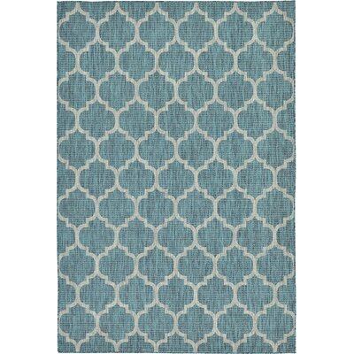 Enola Teal Outdoor Area Rug Rug Size: 6 x 9