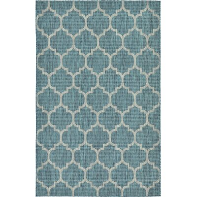 Enola Teal Outdoor Area Rug Rug Size: 4 x 6