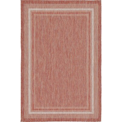 Erma Rust Red Outdoor Area Rug Rug Size: 6 x 9