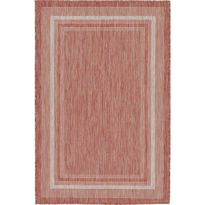 Erma Rust Red Outdoor Area Rug Rug Size: 4 x 6