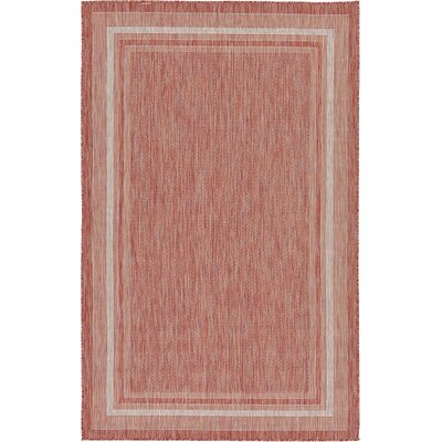 Erma Rust Red Outdoor Area Rug Rug Size: 5 x 8