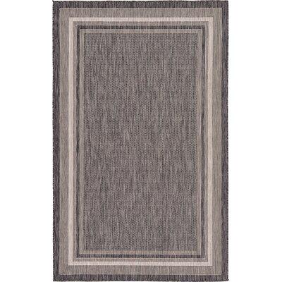 Ernest Black Outdoor Area Rug Rug Size: 5 x 8
