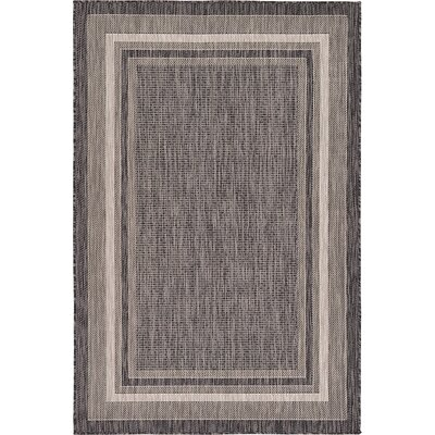 Ernest Black Outdoor Area Rug Rug Size: 4 x 6