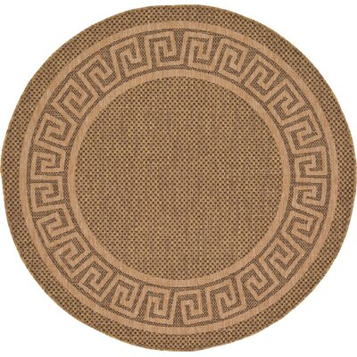 Flint Brown Outdoor Area Rug Rug Size: Round 6