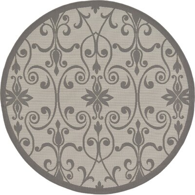 Floyd Gray Outdoor Area Rug Rug Size: Round 6