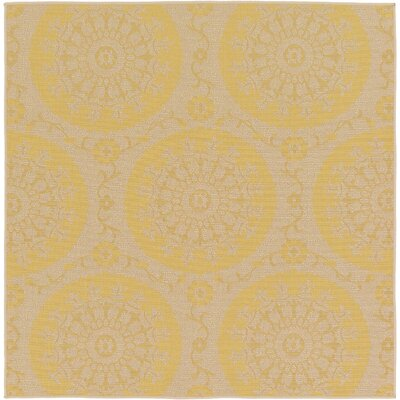 Germaine Yellow Outdoor Area Rug Rug Size: Square 6