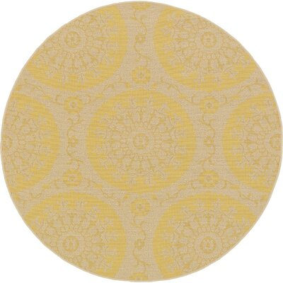 Arabian Yellow Indoor/Outdoor Area Rug Rug Size: Round 6