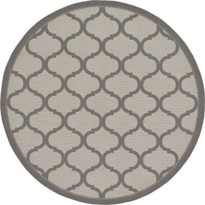 Unionville Gray Outdoor Area Rug Rug Size: Round 6