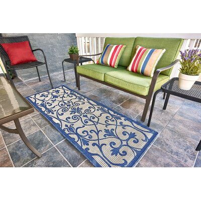 Hoyne Blue Outdoor Area Rug Rug Size: Runner 22 x 6