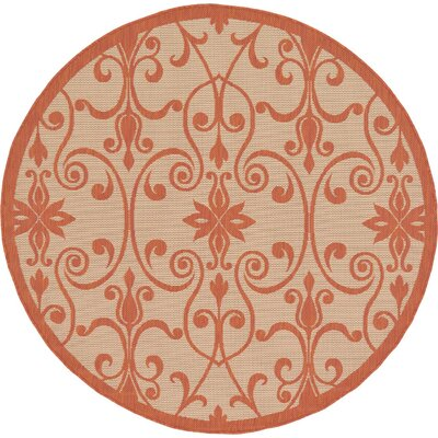 Staffordshire Beige Indoor/Outdoor Area Rug Rug Size: Round 6