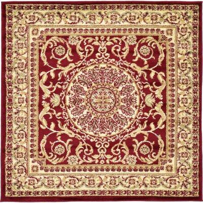 Oskar Red Area Rug Rug Size: Square 4'