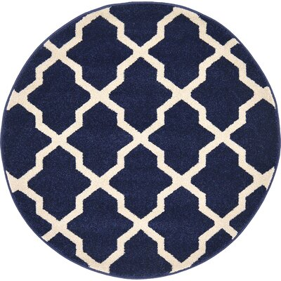 Moore Navy Blue Area Rug Rug Size: Round 33
