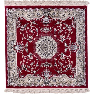 Layton Red Area Rug Rug Size: Square 4'