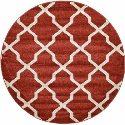 Moore Dark Terracotta Area Rug Rug Size: Round 8