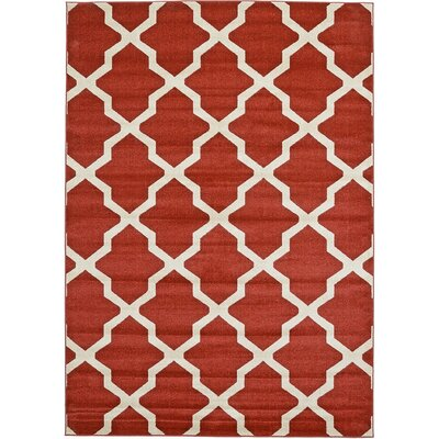 Kellie Dark Terracotta Area Rug Rug Size: 7' x 10'