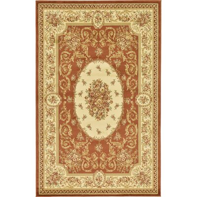 Oskar Brick Red Area Rug Rug Size: 5 x 8