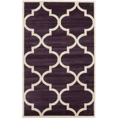Moore Dark Purple Area Rug Rug Size: Rectangle 5 x 8