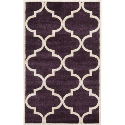 Moore Dark Purple Area Rug Rug Size: Runner 27 x 8