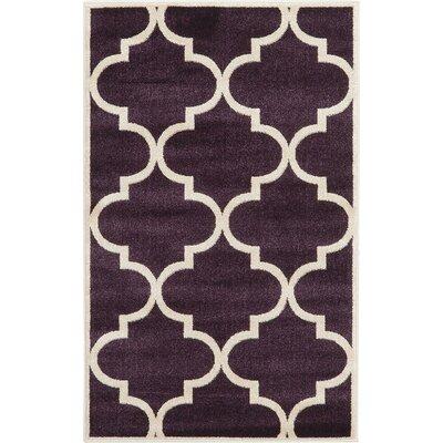 Moore Dark Purple Area Rug Rug Size: 33 x 53