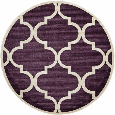 Moore Dark Purple Area Rug Rug Size: Round 8