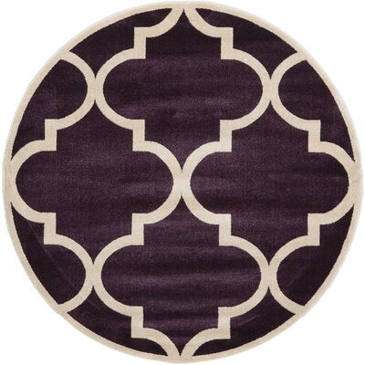 Moore Dark Purple Area Rug Rug Size: Round 6