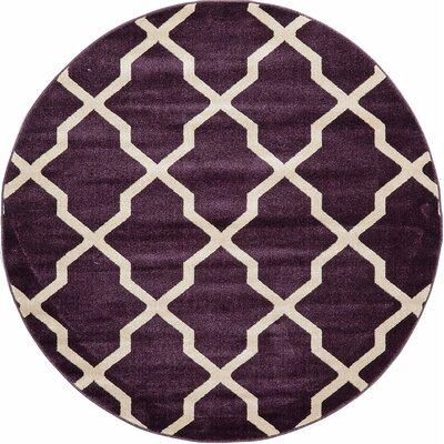 Moore Purple Area Rug Rug Size: Round 6