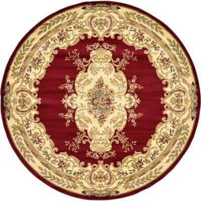 Oskar Red Area Rug Rug Size: Round 8'