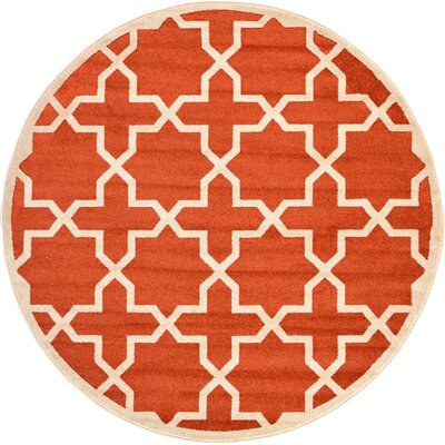 Moore Terracotta Area Rug Rug Size: Round 6'